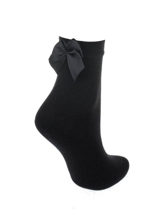Skarpetki czarne z czarną kokardką z tyłu