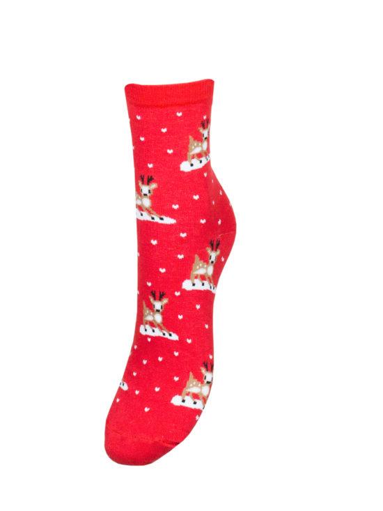 Skarpetki damskie świąteczne czerwone, w małe reniferki