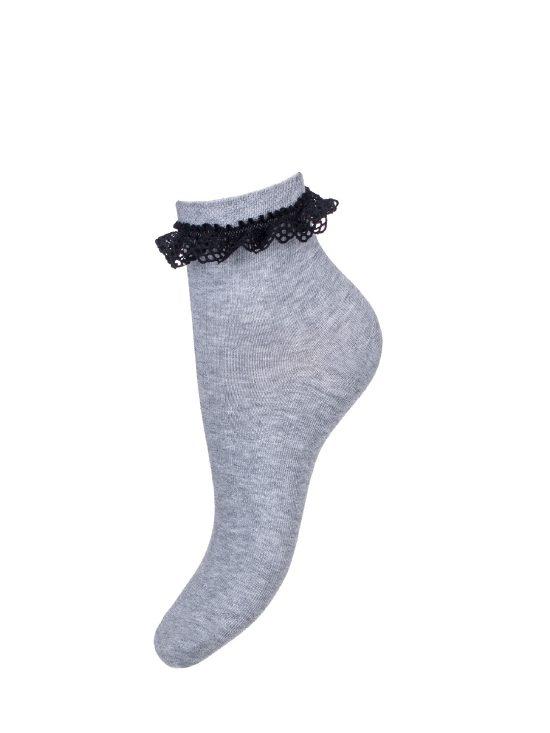 Skarpetki bawełniane damskie w kolorze szarym z czarną koronką przy ściągaczu