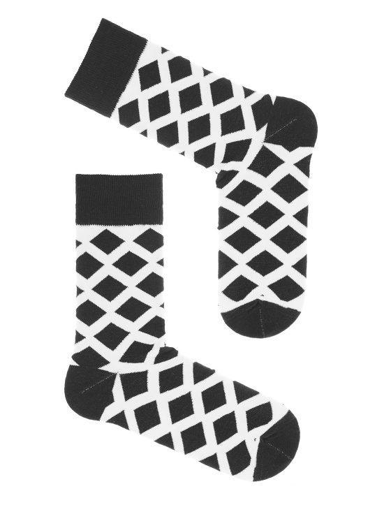 Skarpetki męskie w białe romby na czarnej podstawie