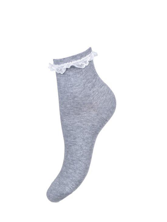 Skarpetki bawełniane damskie w kolorze szarym z białą koronką przy ściągaczu
