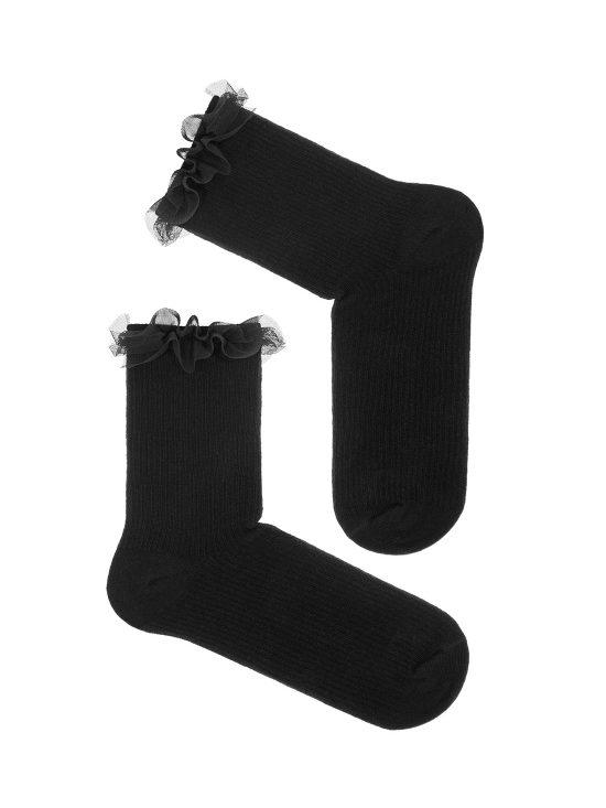 Skarpetki w prążki, czarne z czarną tiulową falbanką przy ściągaczu