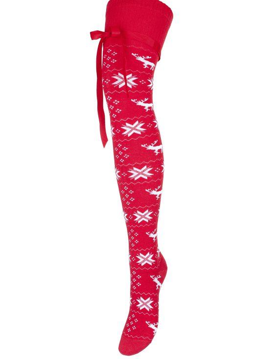 Zakolanówki świąteczne czerwone