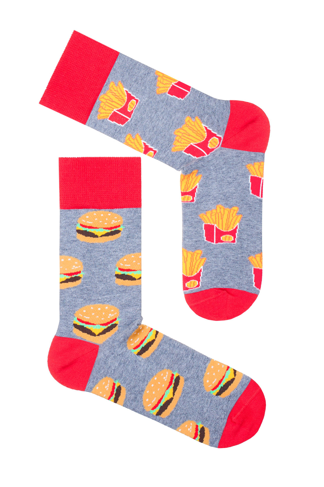 dwie różne skarpetki w hamburgery i frytki