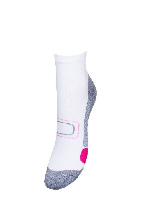 Skarpetki sportowe fit damskie białe z różem i szarym spodem