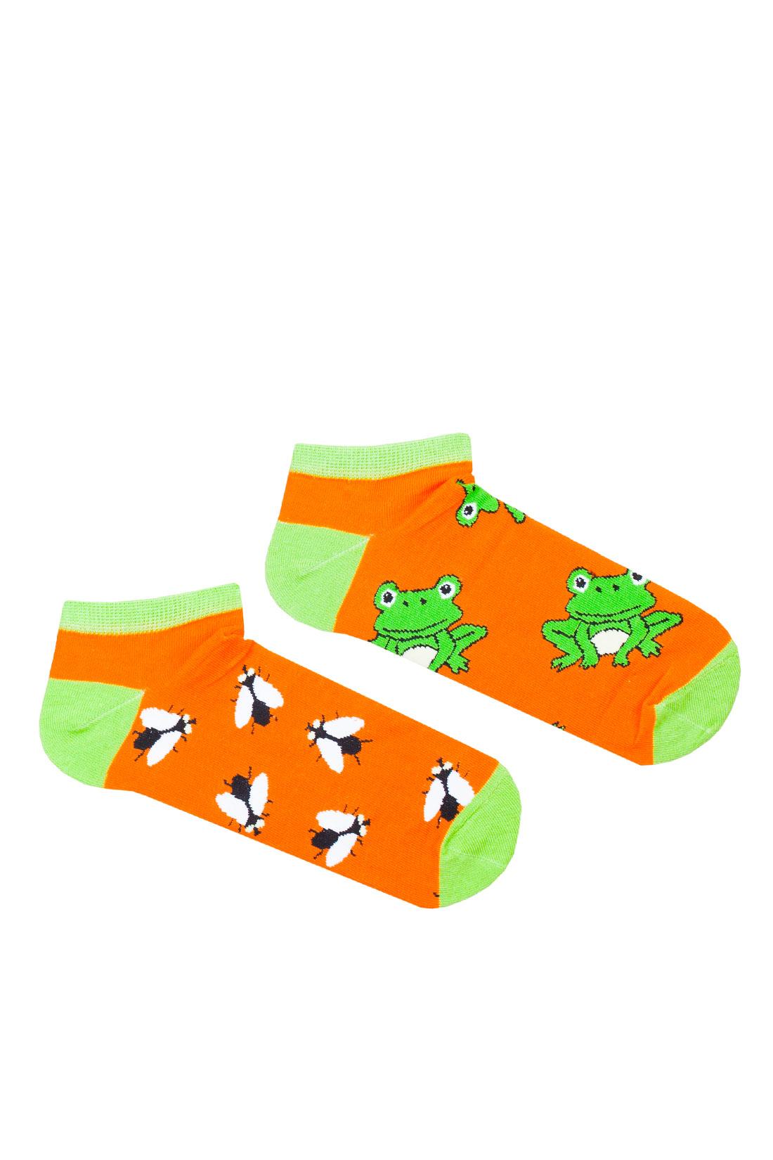 Kolorowe stopki męskie/damskie, w żaby i muchy, na pomarańczowym tle