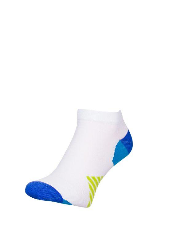 Stopki sportowe białe z niebiesko-zielonymi elementami