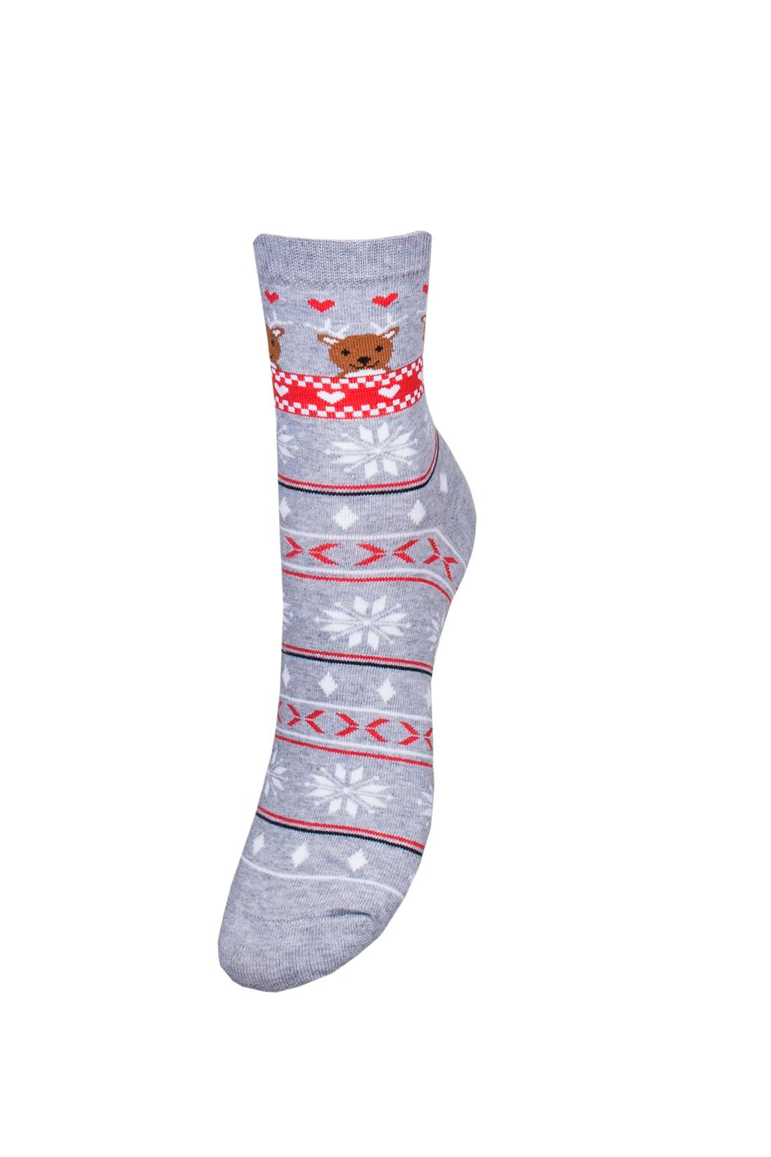 Skarpetki świąteczne damskie szare, norweskie w renifery