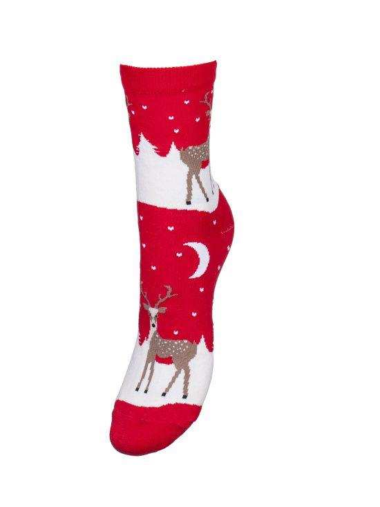 Skarpetki świąteczne damskie w renifery w śnieżnej krainie