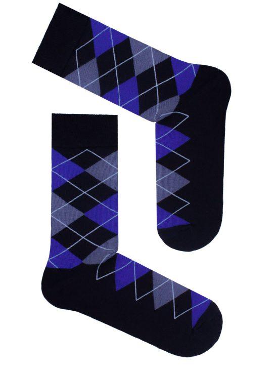 Skarpetki do garnituru/kolorowe w romby na czarnej podstawie
