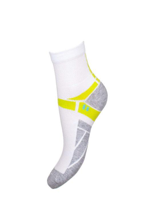 Skarpetki sportowe damskie, białe z szarym spodem i limonkowym paskiem