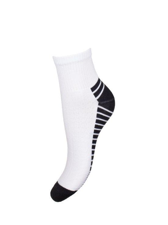 Skarpetki sportowe damskie, białe z czarnym spodem