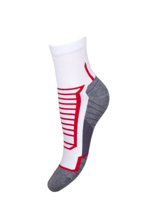 Skarpetki sportowe damskie,białe z szarym spodem, czerwone paski na górze i z tyłu skarpetki