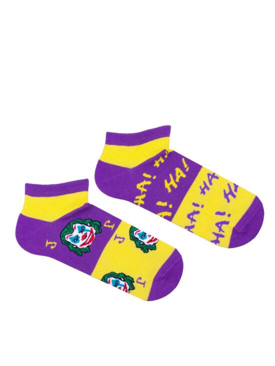 Kolorowe stopki męskie,joker , na fioletowo żółtych pasach