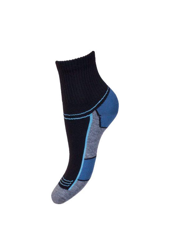 Skarpetki sportowe damskie,czarne z szaro-niebieskim spodem