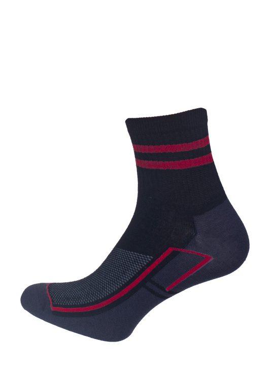 Skarpetki sportowe czarne z grafitowymi i czerwonymi elementami