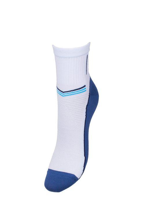 Skarpetki sportowe damskie,białe z niebieskim spodem