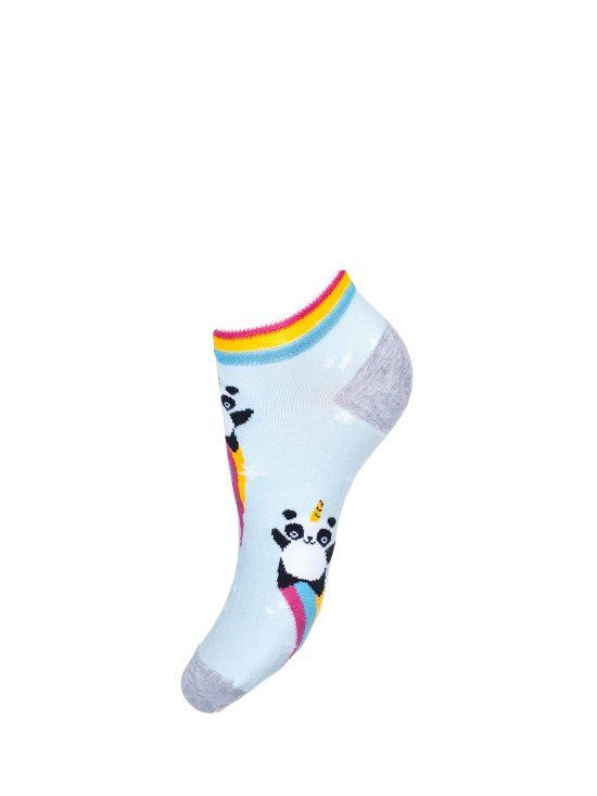 Stopki damskie w pandy lecące na tęczy, kolorowy ściągacz, jednolite miętowe tło