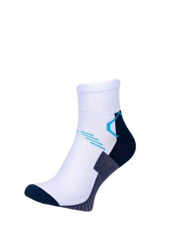Skarpetki sportowe białe z grafitowym spodem z niebieskimi oraz granatowymi elementami