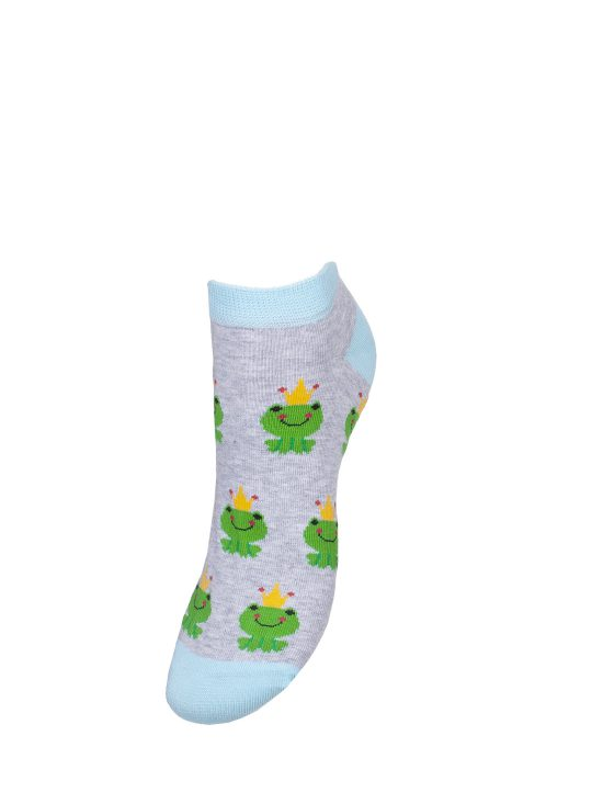 Kolorowe stopki damskie w żabki z koroną na szarym tle z turkusowym wykończeniem