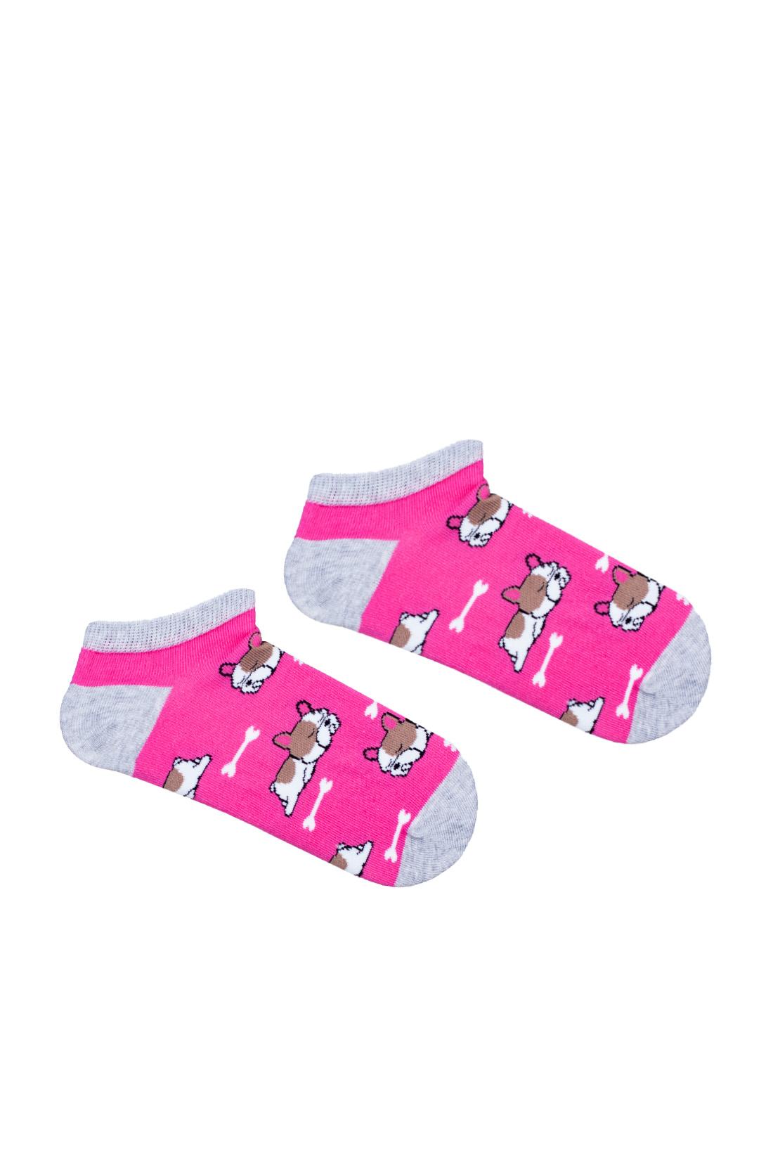 Kolorowe stopki dziecięce, różowe z szarym wykończeniem w śpiące pieski