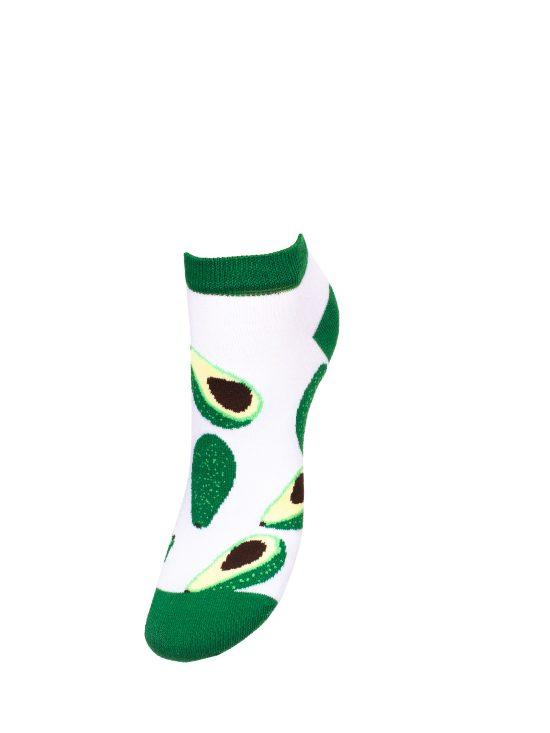 Stopki damskie białę z zielonym wykończeniem w awokado