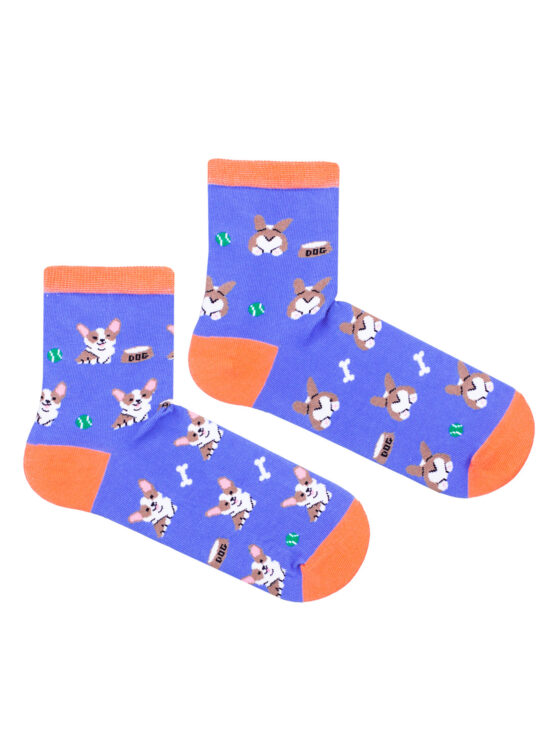 Kolorowe skarpetki damskie w pieski corgi, dwie różne na niebieskim tle z pomarańczowym wykończeniem