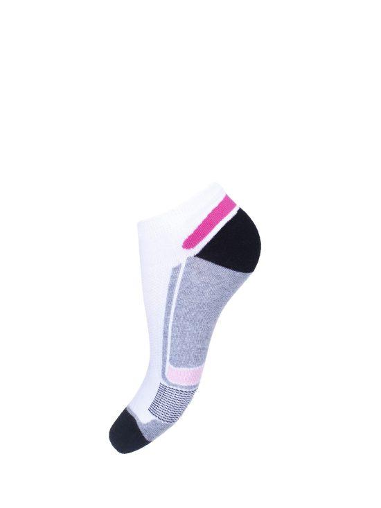 Stopki sportowe damskie białe z szaro-różowymi elementami