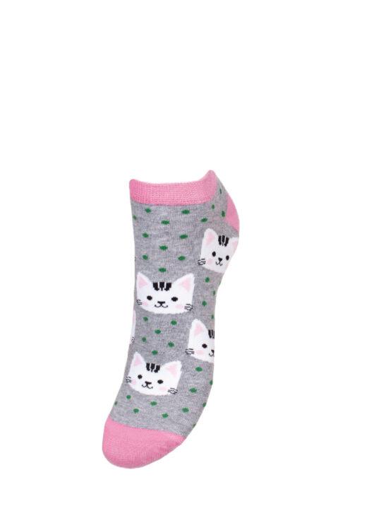 Kolorowe stopki damskie ciemnoszare w kotki z różowym wykończeniem i zielonymi kropkami