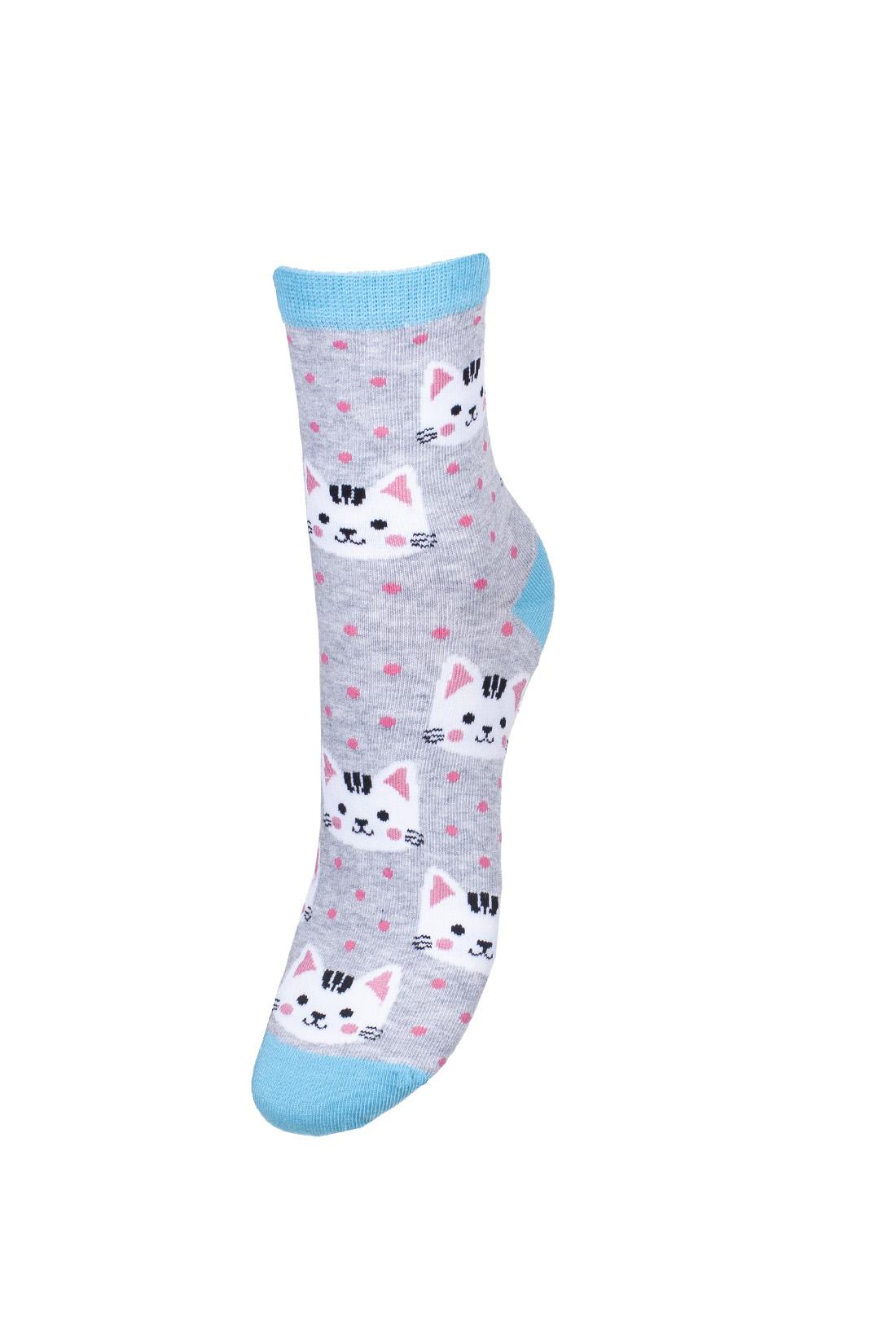 Kolorowe skarpetki damskie w kotki na szarym tle, różowe kropki z turkusowym wykończeniem