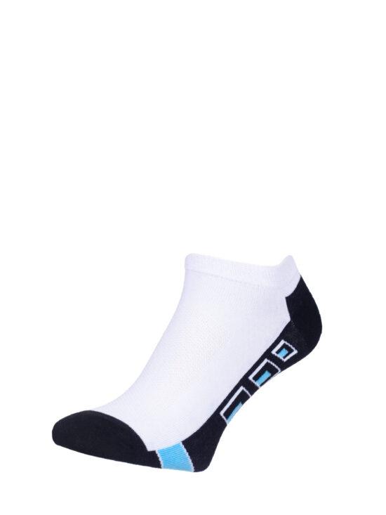 Stopki sportowe białe z czarnym spodem i niebieskimi elementami