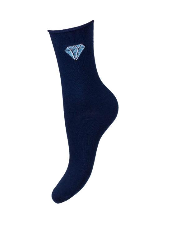 Kolorowe skarpetki damskie bezuciskowe, na jednolitej granatowej podstawie z lśniącym niebieskim diamentem