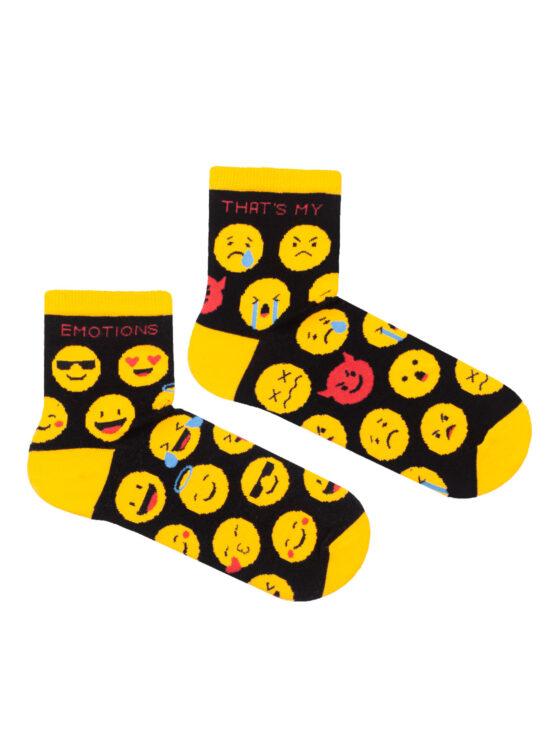 Kolorowe skarpetki damskie czarne w żółte emotki dwie różne