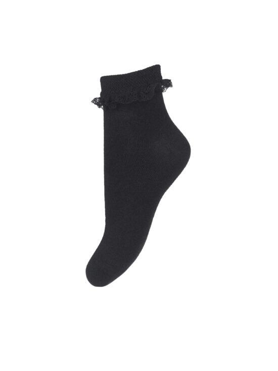 Skarpetki dziecięce czarne z koronką w kolorze czarnym
