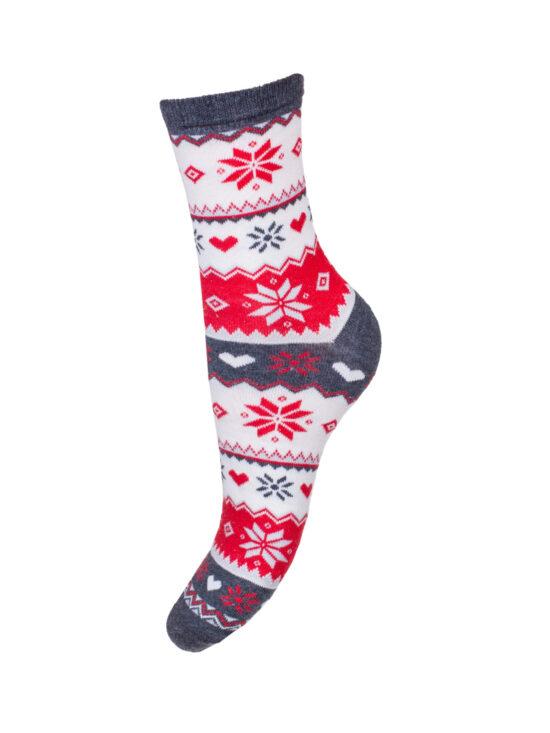 Skarpetki damskie świąteczne norweskie,z białymi czerwonymi elementami z ciemnoszarym wykończeniem