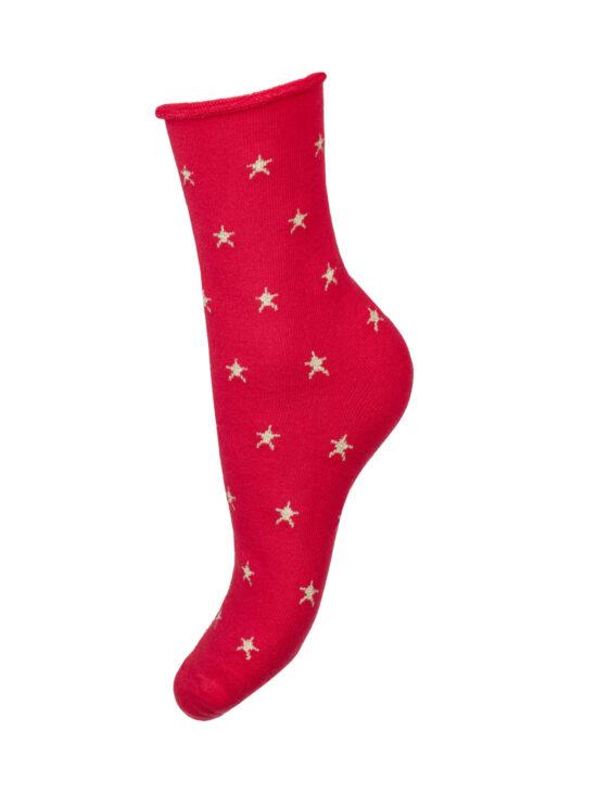 Skarpetki damskie frotte, czerwone w złote gwiazdki