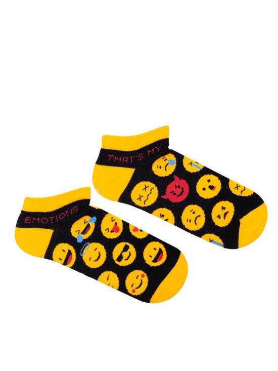 Kolorowe stopki damskie czarne z żółtym wykończeniem w emotki