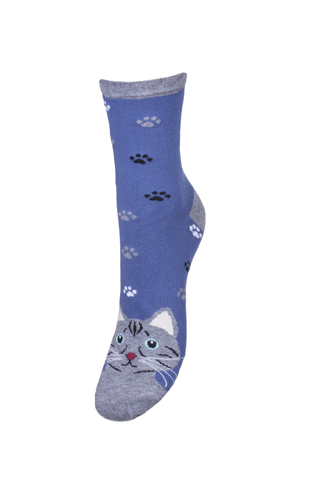 Kolorowe skarpetki damskie z kotem oraz odciskami łap, niebieskie z szarym wykończeniem