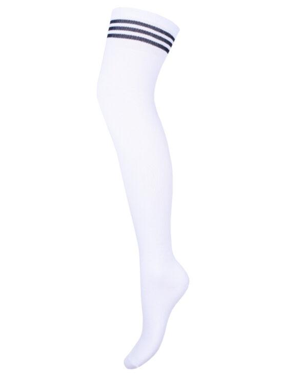 Zakolanówki damskie bawełniane białe ze ściągaczem w czarne paski