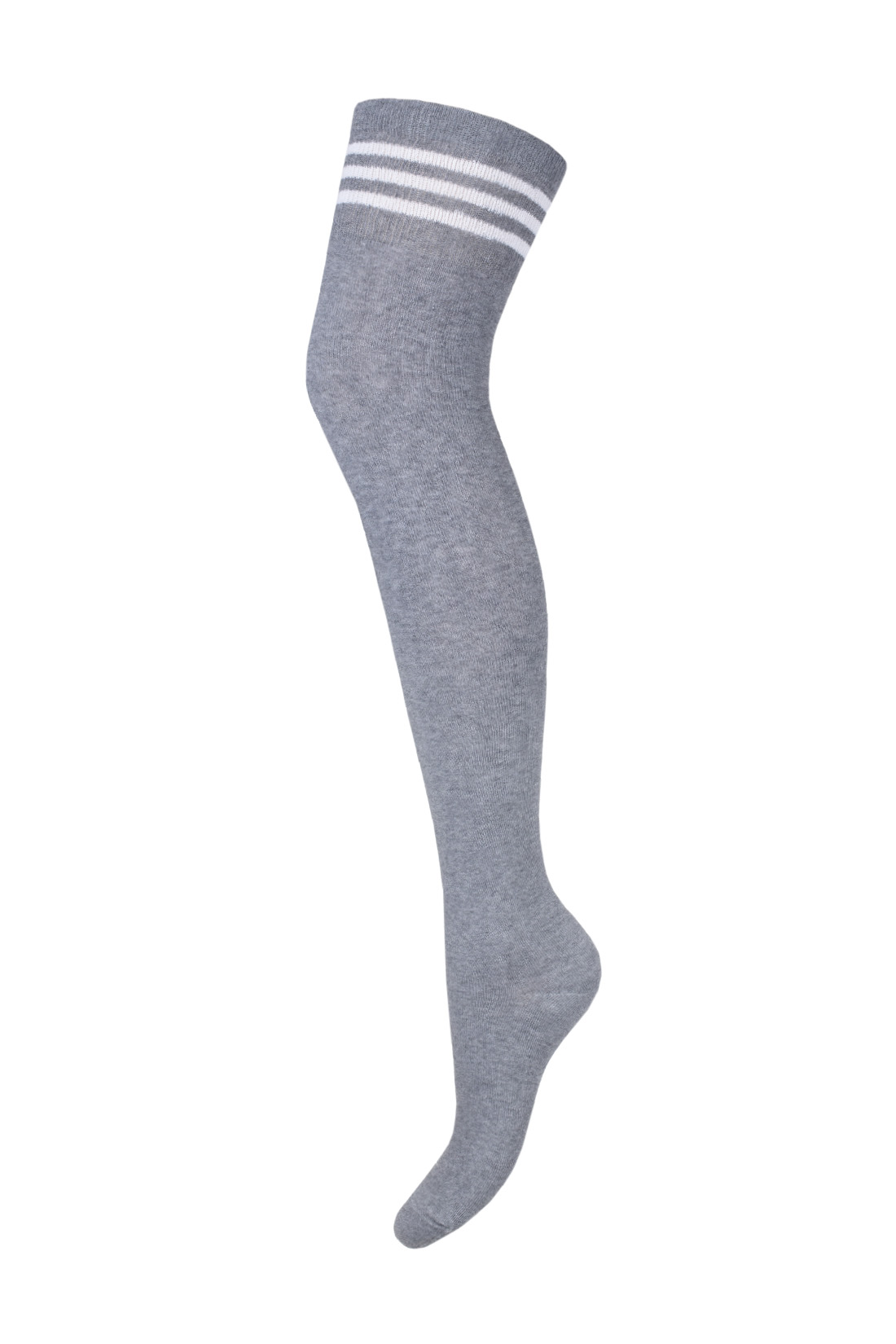 Zakolanówki damskie bawełniane szare ze ściągaczem w białe paski