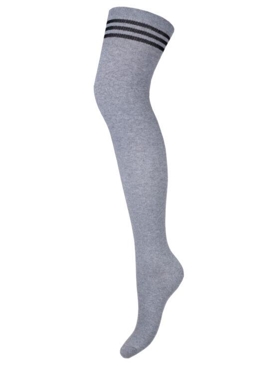 Zakolanówki damskie bawełniane szare ze ściągaczem w czarne paski
