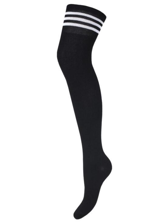 Zakolanówki damskie bawełniane czarne ze ściągaczem w białe paski