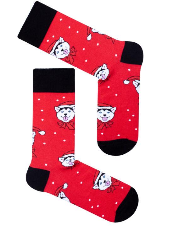 Kolorowe skarpetki męskie świąteczne, czerwone z czarnym wykończeniem w husky z czapką mikołaja
