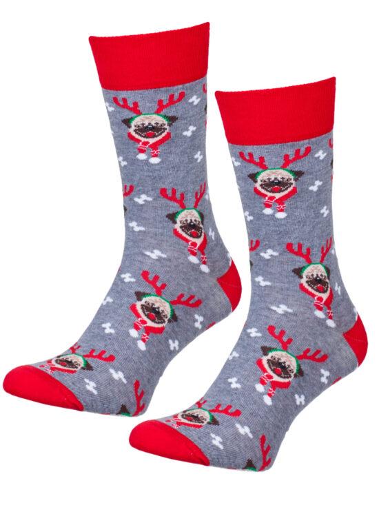 Kolorowe skarpetki męskie świąteczne, szary melanż z czerwonym wykończeniem, mopsy z rogami renifera i szalikiem