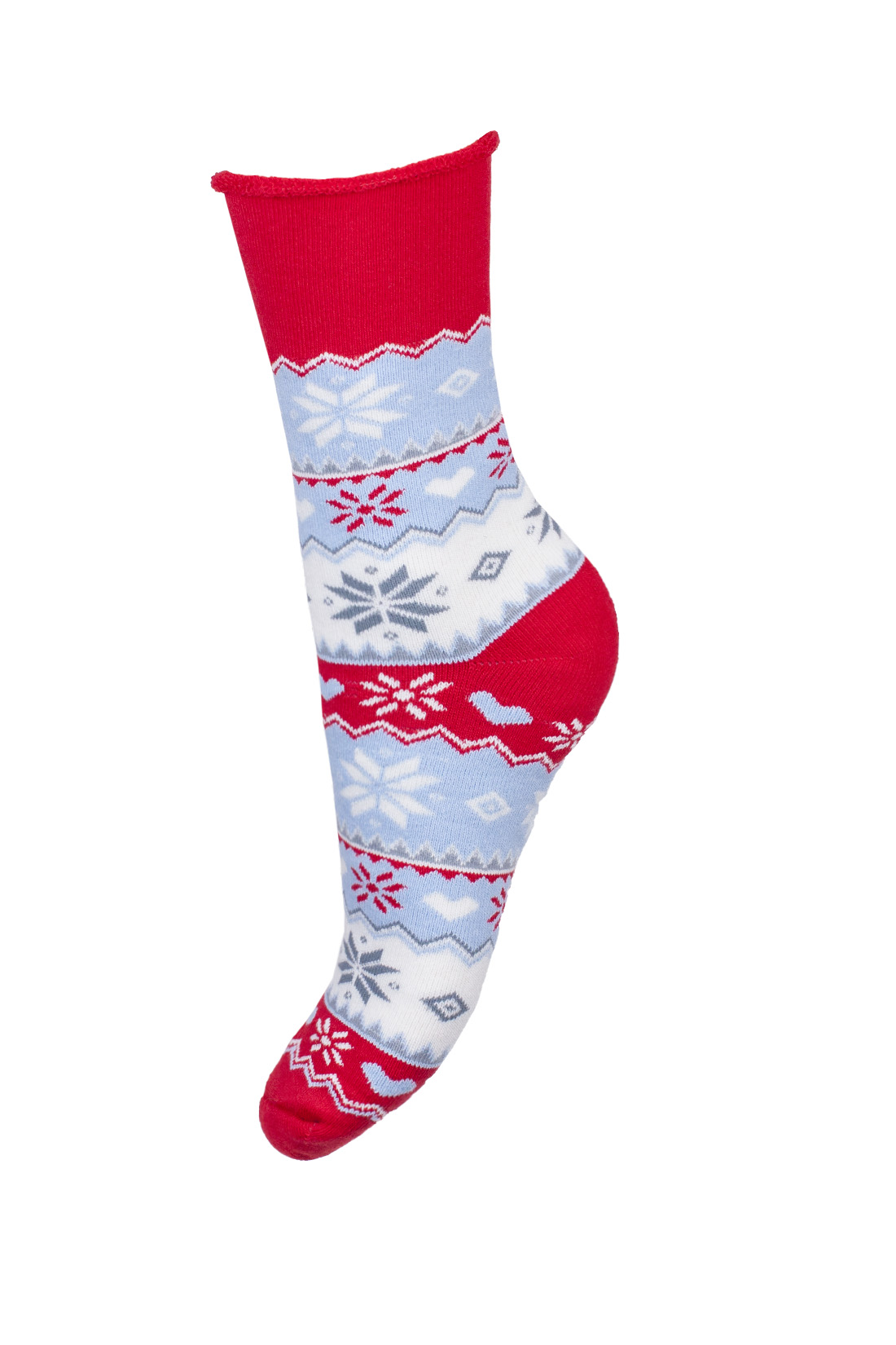 Skarpetki damskie frotte czerwone świąteczne z niebieskimi i białymi elementami