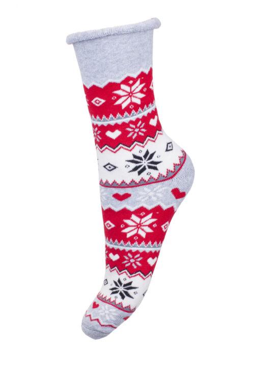Kolorowe skarpetki świąteczne szaro,biało-czerwone z czarnymi elementami