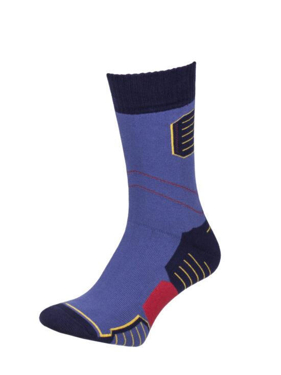 Skarpetki termiczne w kolorze niebieskim z czarnym wykończeniem i żółto-czerwonymi elementami
