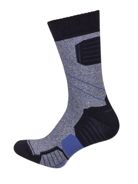 Skarpetki termiczne w kolorze szarym z czarnym wykończeniem i czarno-niebieskimi elementami
