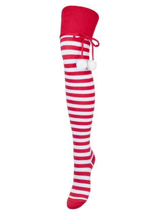 Zakolanówki świąteczne damskie w biało-czerwone paski z pomponami na sznurku