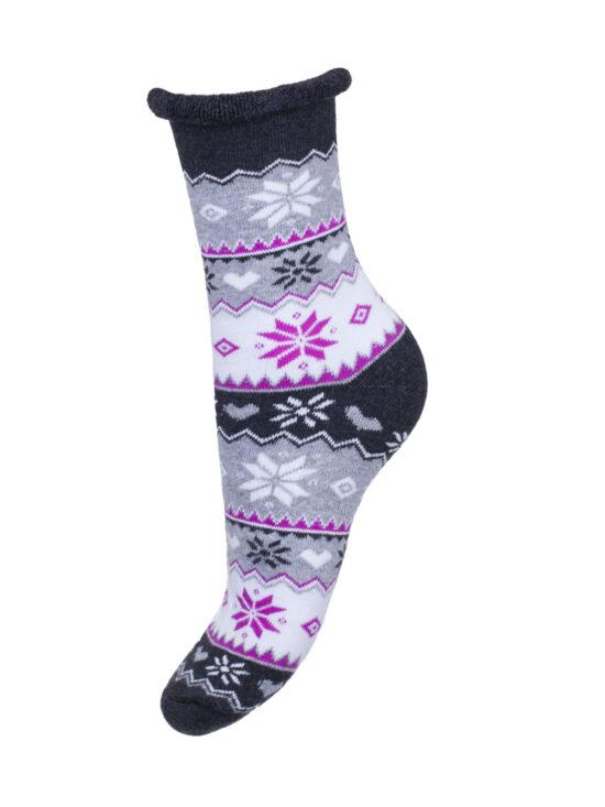 Kolorowe skarpetki damskie frotte bezuciskowe norweskie , ciemnoszare , szare i białe pasy z różowymi elementami